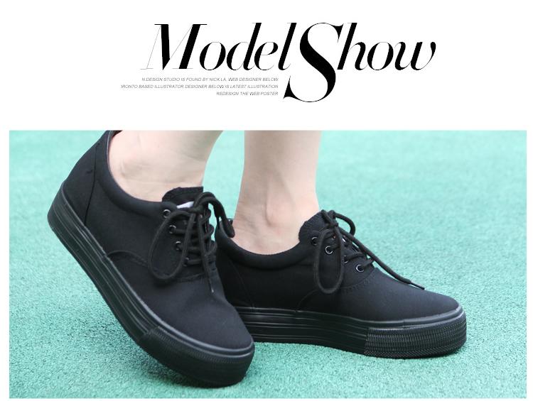 帆布鞋女内增高厚底休闲鞋女韩版潮