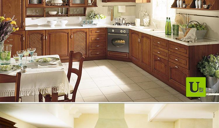 倍安心整体厨房橱柜定制 定做美式乡村风格实木门板 石英石台面图片