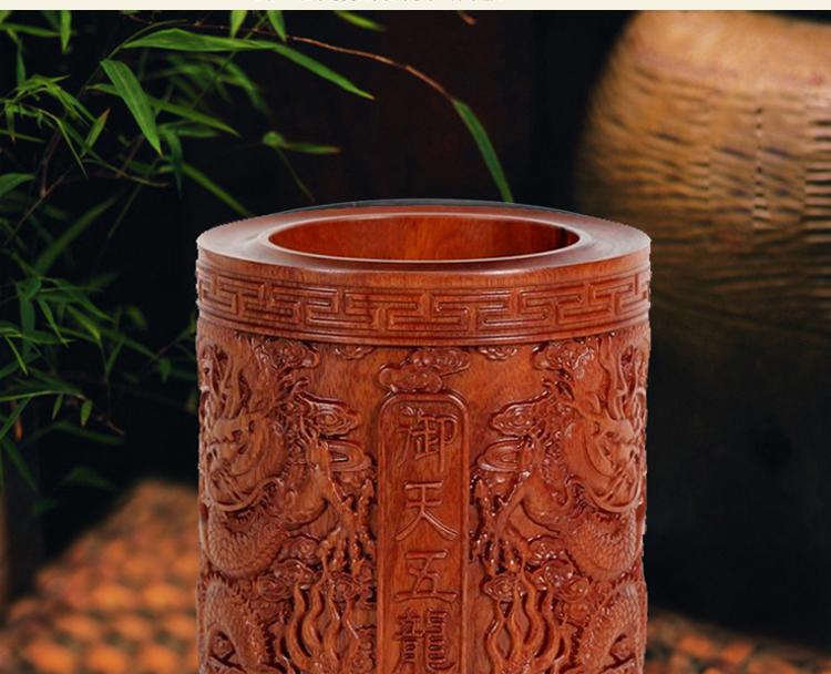 高档实木笔筒 缅甸花梨木浮雕笔筒gyp002 产地 福建仙游(中国古典家具