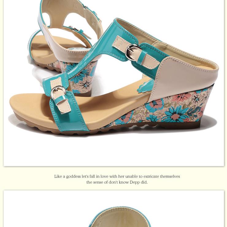 夏季新款坡跟凉拖 女中跟凉鞋