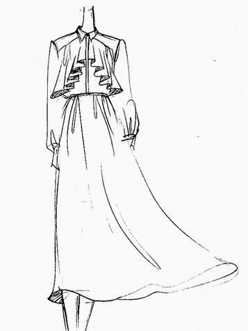 时尚韩版雪纺长袖翻领连衣裙