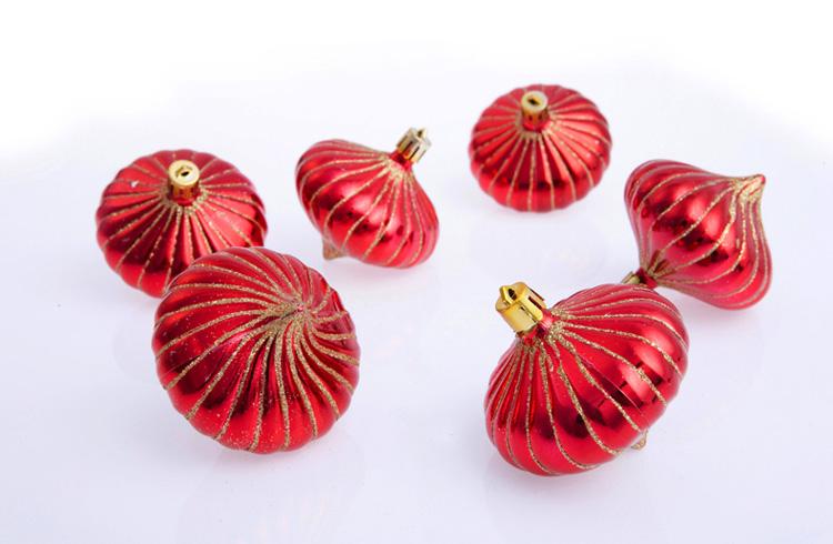 怡美圣诞装饰品 8cm彩绘洋葱球 圣诞树挂件 金色