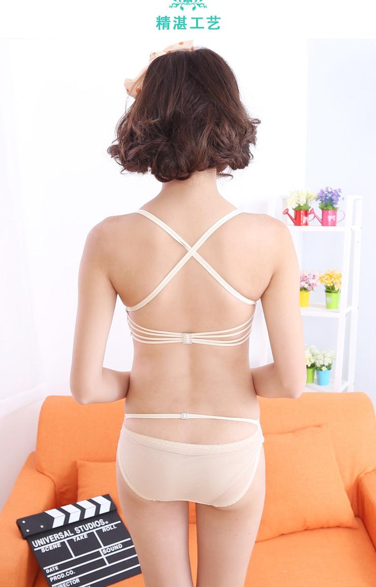 褶皱性感交叉肩带美背少女内衣 竖
