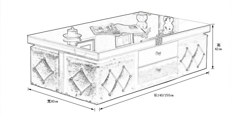 茶几室内手绘线稿