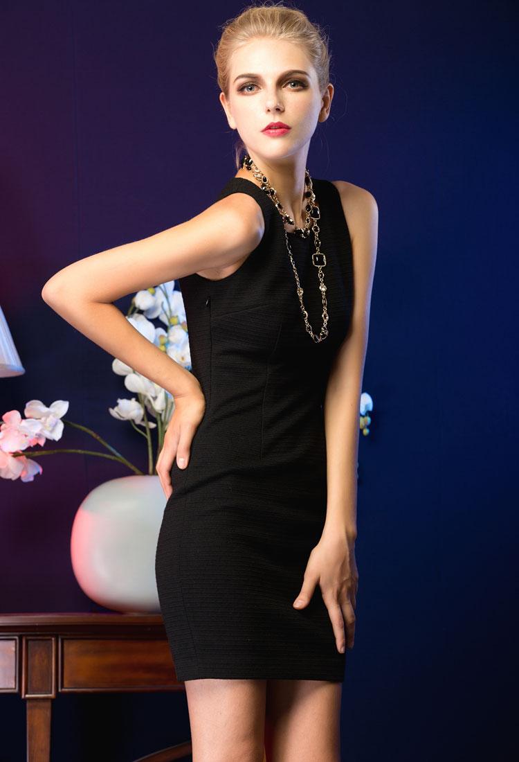 泰芙缇2012秋装新款欧美大牌范高端简约黑色修身气质