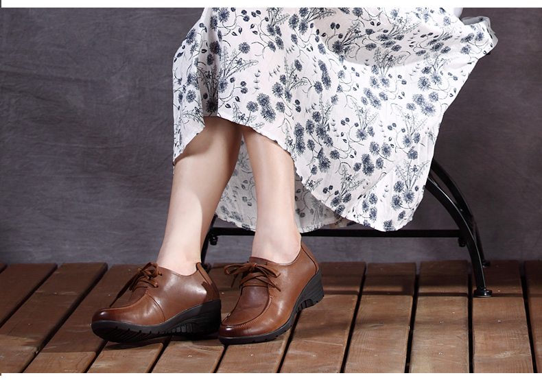 女式真皮粗跟 女鞋 中跟单鞋