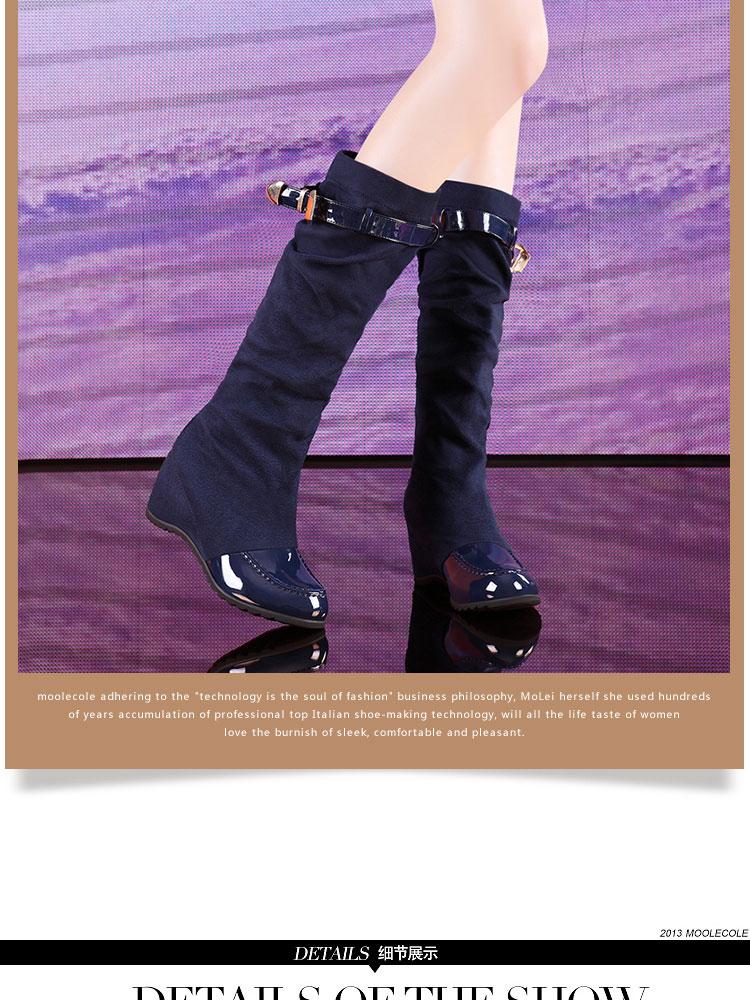 柳岩代言1013秋冬新款优雅双重穿法坡跟马丁长筒靴 蓝色 35