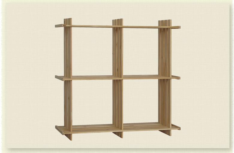 宜哉 进口松木架子 斜4格 可悬挂实木花架 书柜层架 桌面收纳架