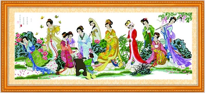 精准印花十字绣梦红楼十二金钗人物系列古代美女客厅