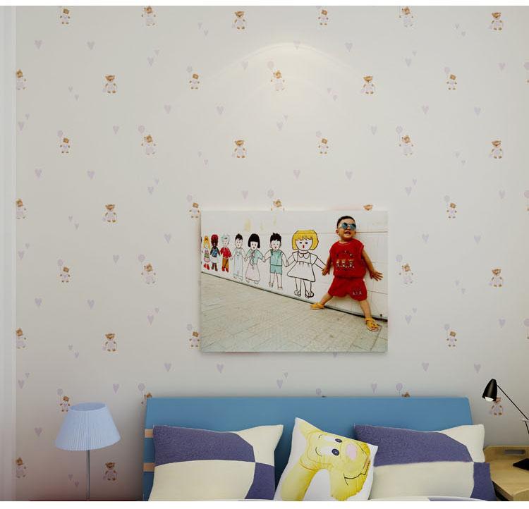 格林威尔 儿童环保无纺布墙纸 可爱卡通小熊男孩女孩房壁纸 白底粉花