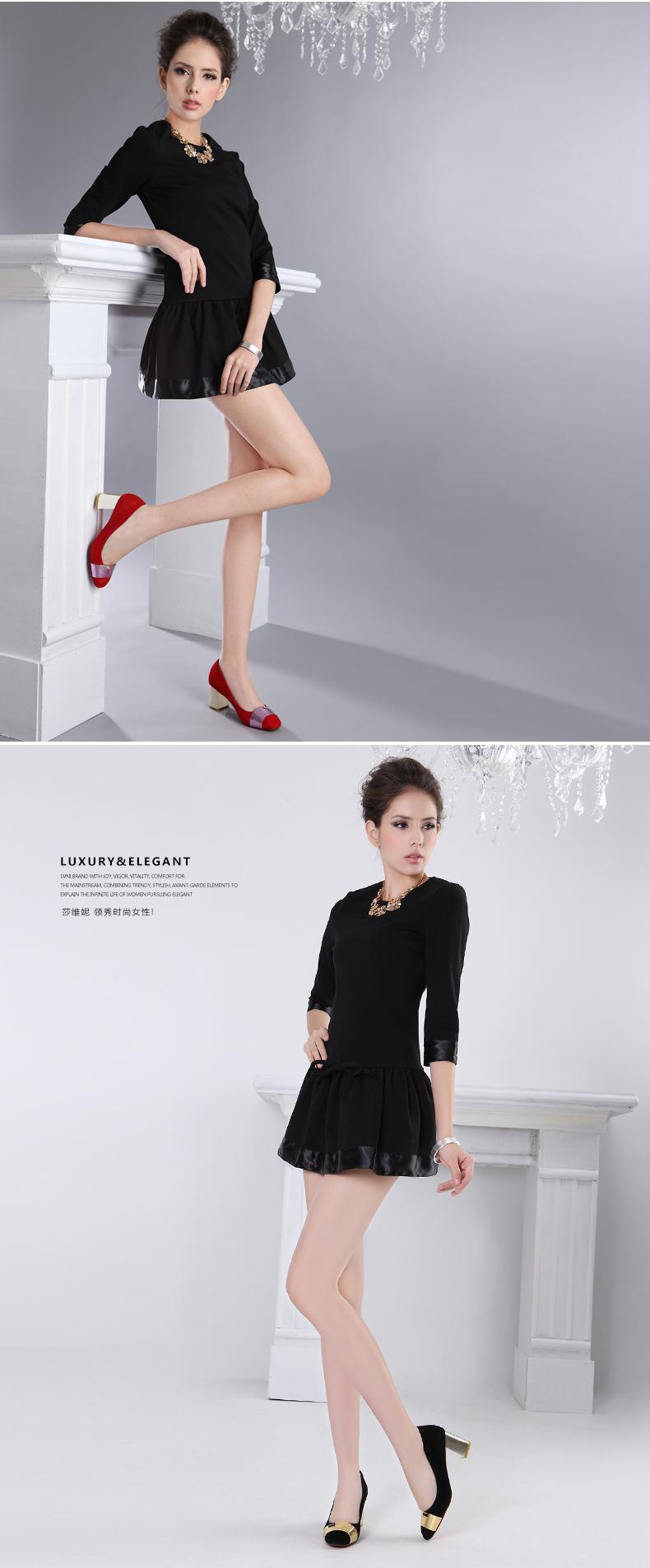莎维妮2014新款真皮时尚高跟鞋金属装饰婚鞋拼色粗跟女单鞋svc067