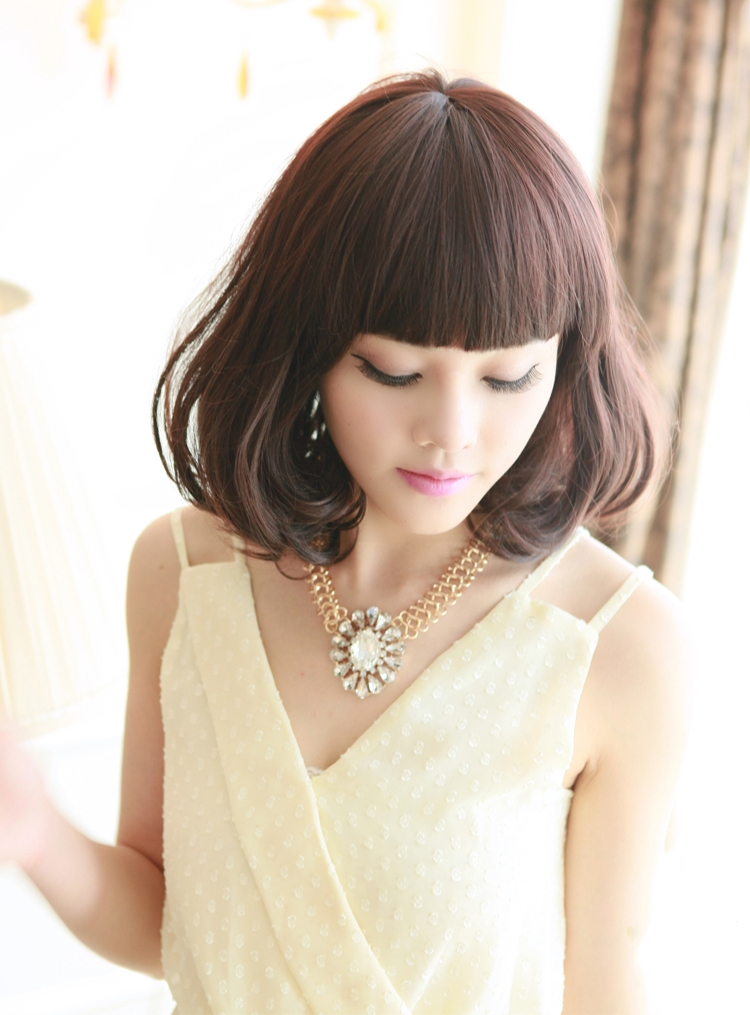 梨花头假发短发蓬松修脸减龄女生齐刘海图片