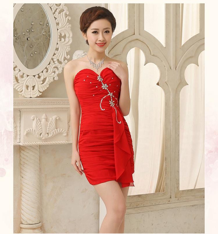 tslyzm 2014新娘晚礼裙短款修身韩版结婚礼服红色敬酒图片