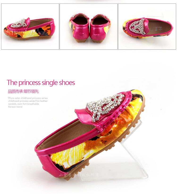 童女童鞋豆豆鞋皮鞋单鞋钻