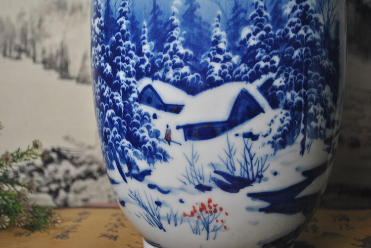 雅川礼瓷 青花赏瓶 冬瓜瓶·工笔手绘·雪景