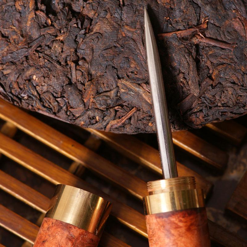 和卉堂 红木茶针缅甸花梨瘿木铜头不锈钢单头普洱茶针