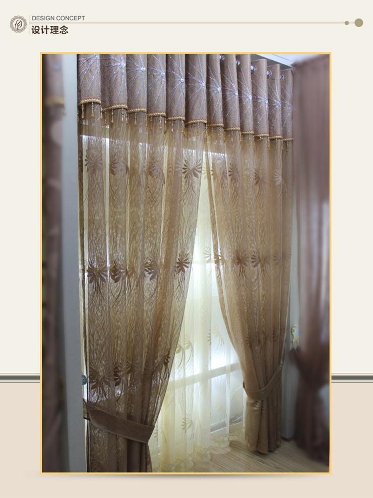 菲格迪娅 现代简约 窗帘布艺 透明阳台客厅纱帘 高档飘窗窗纱 半遮光帘图片
