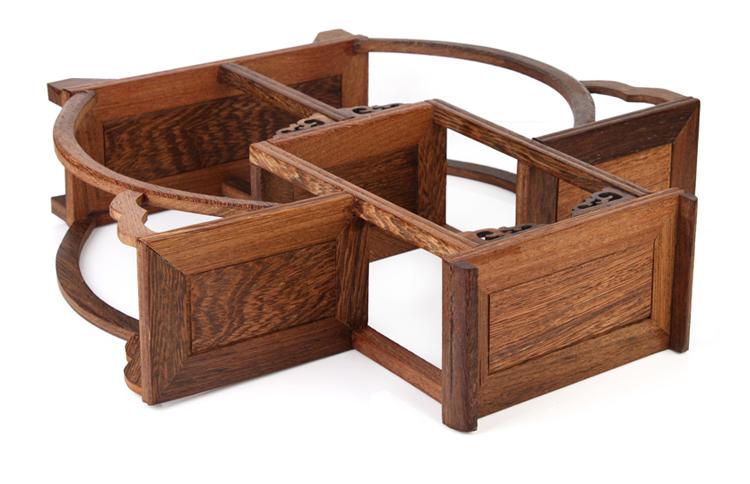 吉善缘 鸡翅木茶杯博古架 多宝架 实木中式架小物件装饰架1304