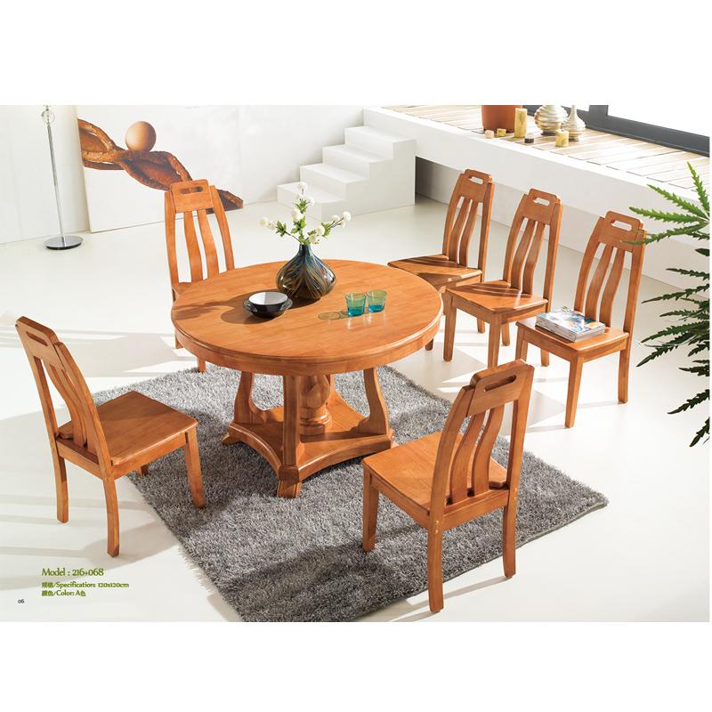 雨林霏 热卖 原木 餐桌椅组合 实木圆桌 饭桌椅 216 068 一桌4椅