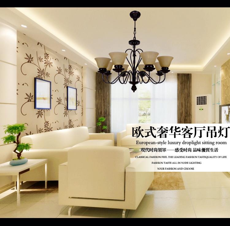 沃得灯饰欧式吊灯具 复式大厅客厅灯现代简约