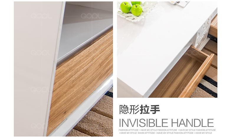 歌珥 亮光烤漆面板 原生态木纹组合带抽屉储物功能茶几 免安装 m807