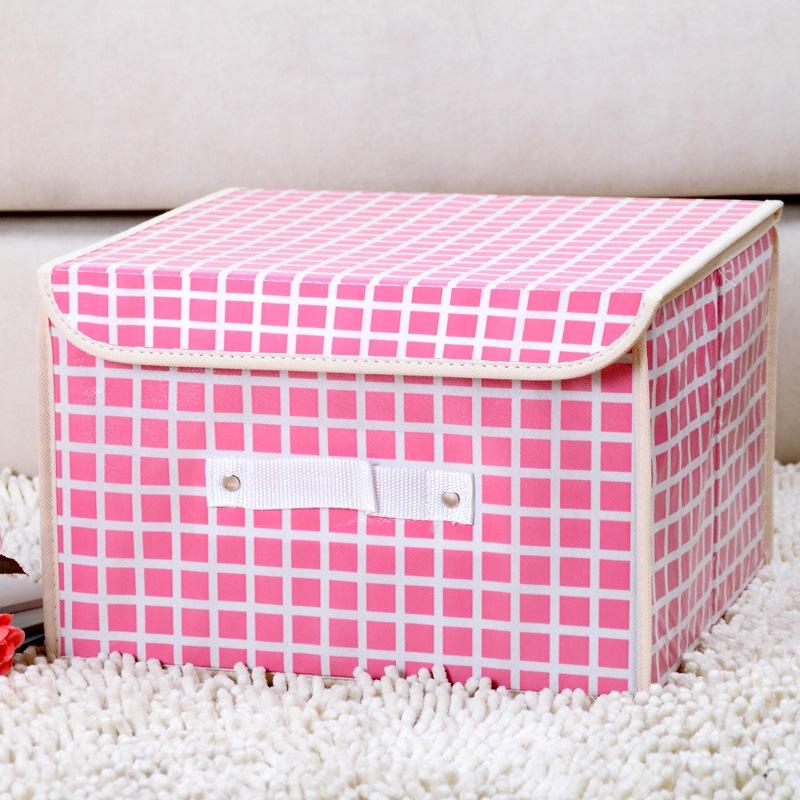 百草园 粉格小号收纳箱整理箱 衣服杂物收纳盒储物箱 18L 1个装
