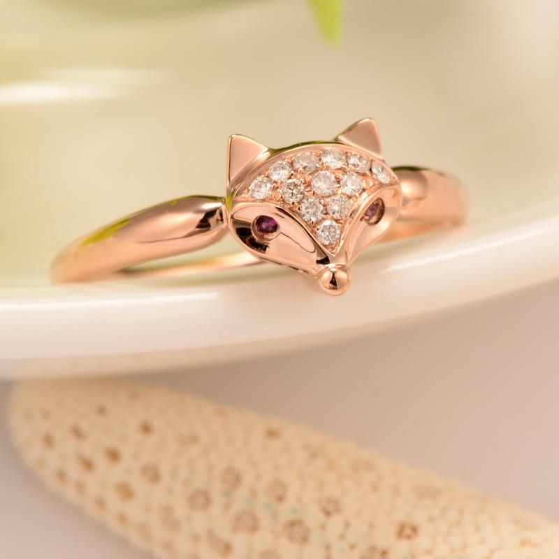 圣匠世家 18k金钻石女戒 玫瑰金钻石戒指 狐狸款 18k金 女 定制 (定制