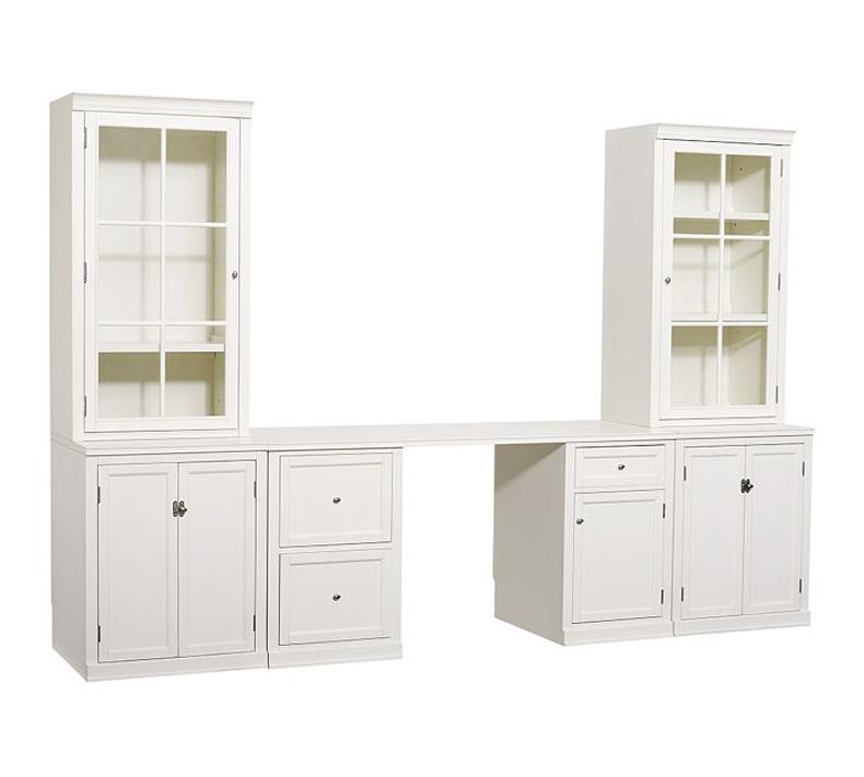 贝尼尼 美式乡村实木多功能组合电视柜 连体书桌 书柜
