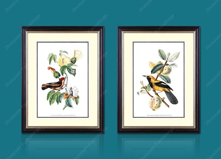 卓缘 美式欧式后现代客厅餐厅卧室 有框装饰画 灵动花鸟 gr6132 48*6图片