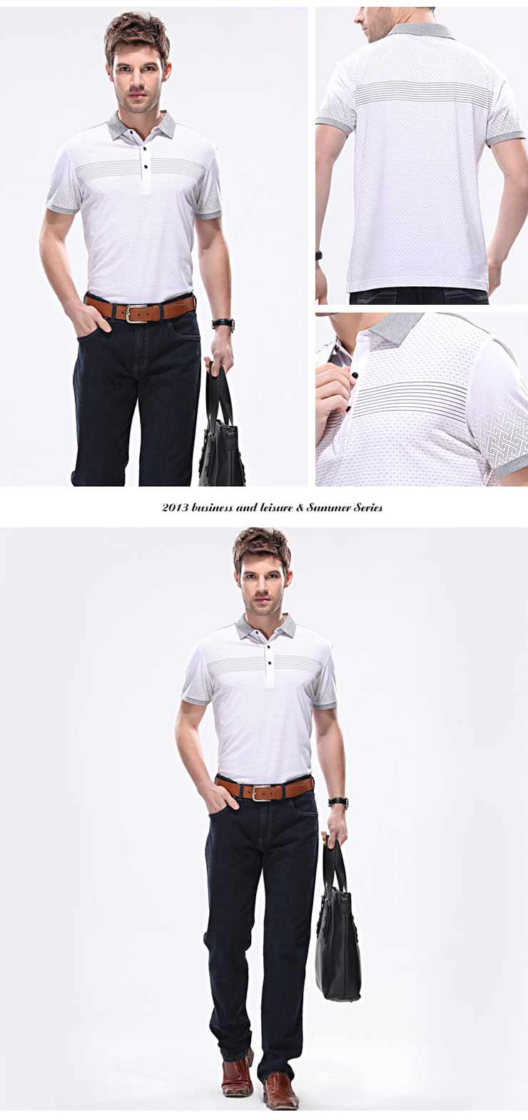 Middle-aged men's business casual summer new lapel printed short-sleeved T-shirt men short sleeve t-shirt polo shirt men polo shirt C2031 Grey 180c