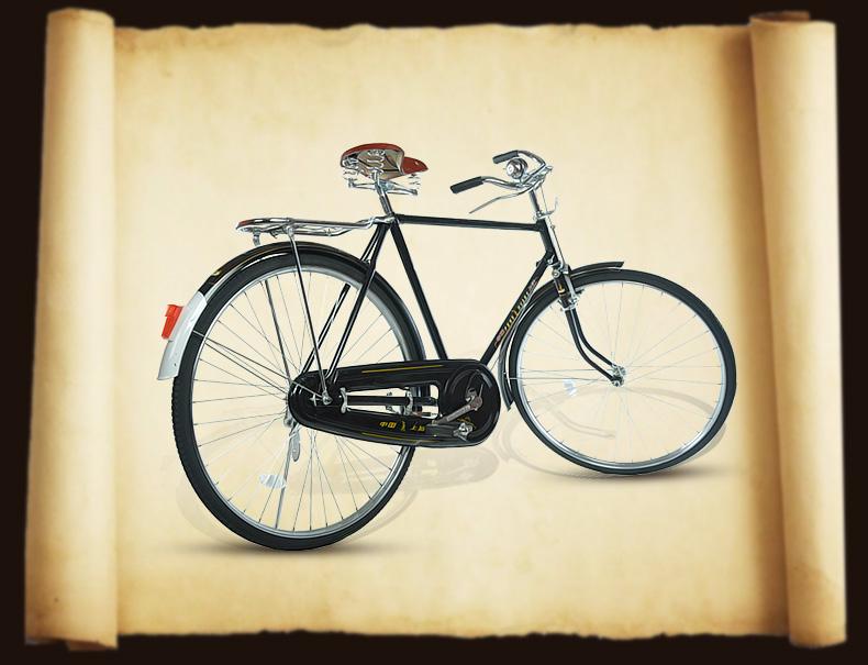 00 凤凰26寸老式自行车 70年代80年代老品杆闸车 怀旧风情自行车 送父