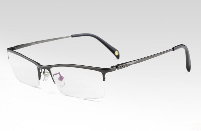 普莱斯(pulais)简约纯钛近视眼镜架男士白领眉线款眼镜框608 枪色图片
