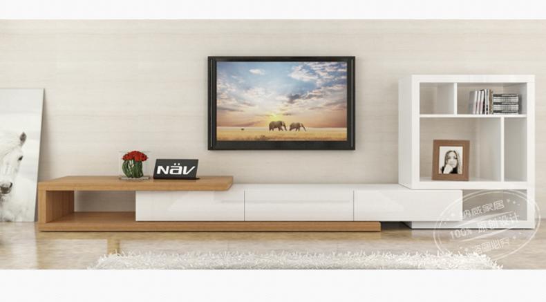 纳威家居 简约地柜 加长可伸缩电视柜 客厅柜子组合家具 黑白木纹多色