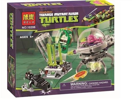 乐高式忍者神龟玩具积木实验室逃生益智拼装积木模型