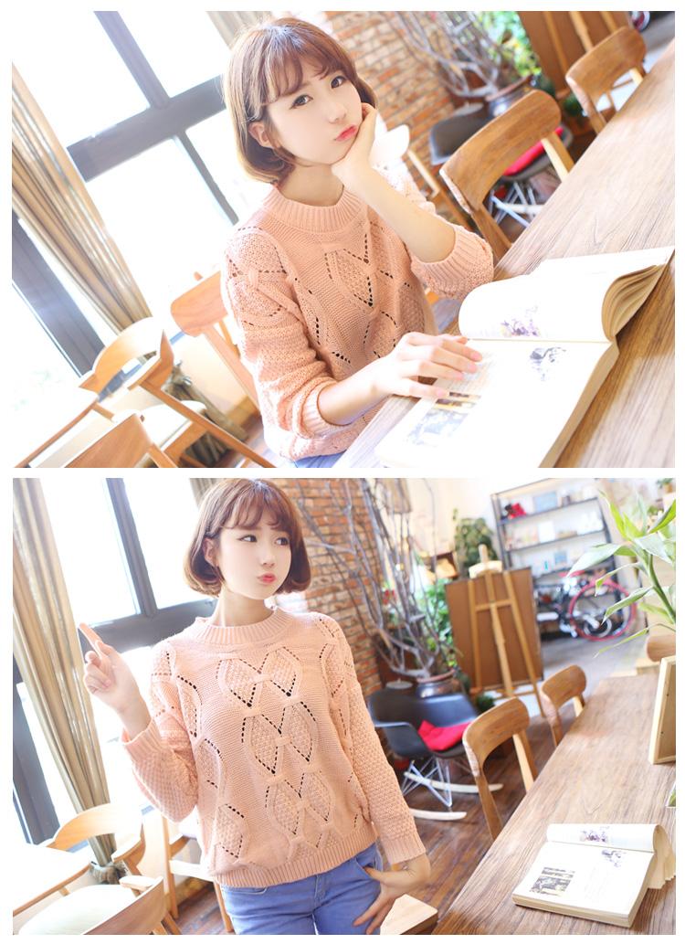 香堤花语 韩版女装秋装新款圆领镂空花纹针织衫长袖毛衣 t23 玫红色