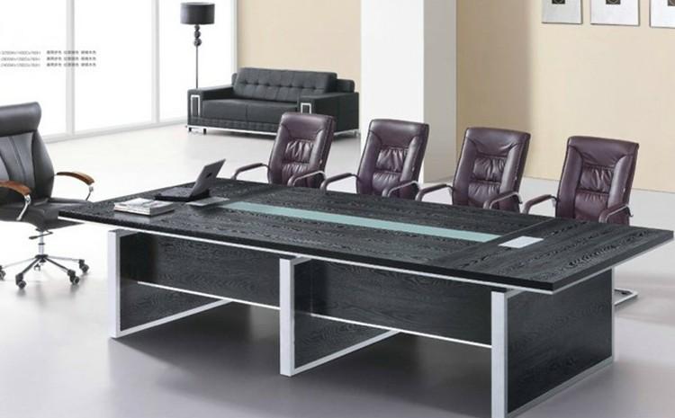 好环境家具 时尚板式会议桌 简约洽谈桌 现代办公桌 条形接待台 胡桃