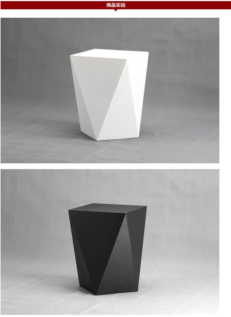 艾千 简约现代个性创意几何黑白 金属烤漆 电话茶几 沙发边 黑色