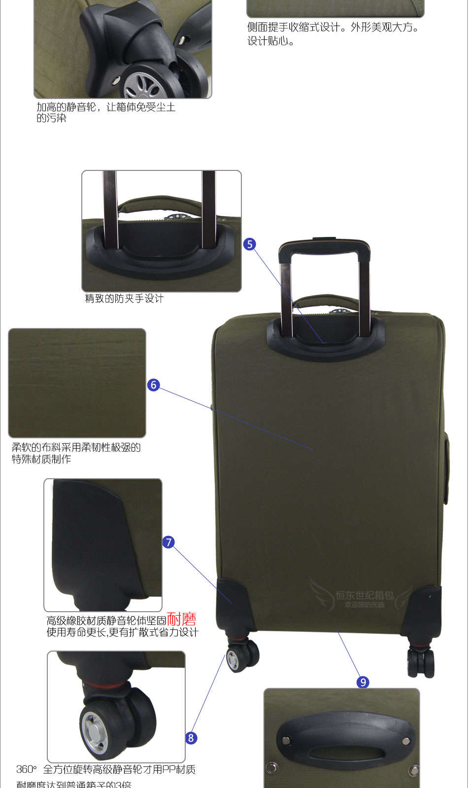 轮拉杆箱行李箱高级耐磨飞机轮20寸24寸密码箱2016