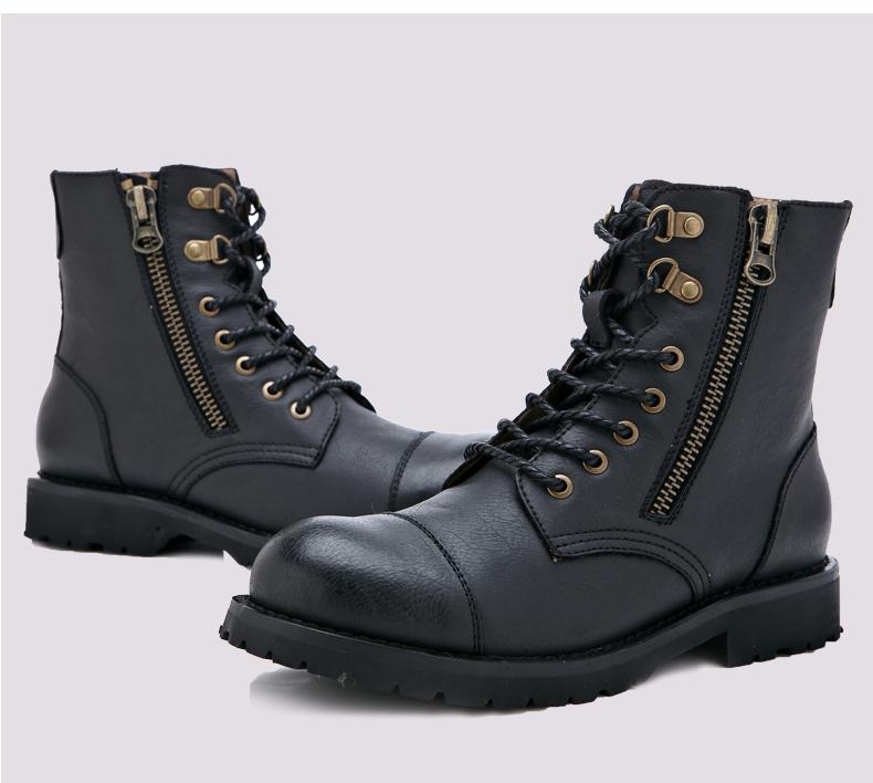 新款男士真皮金属高帮拉链马丁靴
