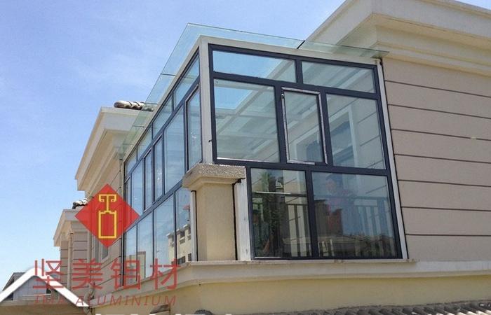 多保露台阳光房 断桥铝门窗封阳台 中空钢化夹胶钢结构玻璃顶