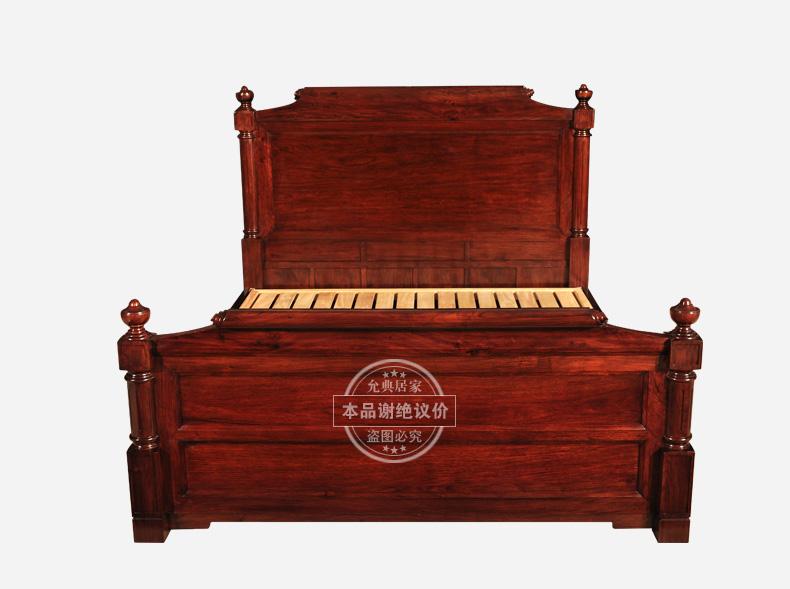 允典红木家具 花梨木 美式系列 进口实红木双人床 1.