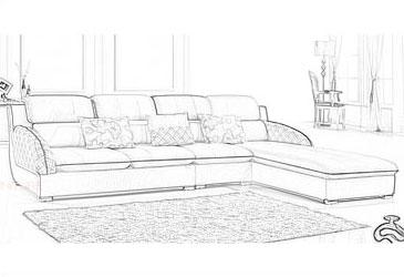 设计手稿; 福尊家具 布艺休闲沙发 双人位 单人位 贵妃位沙发 可拆洗图片