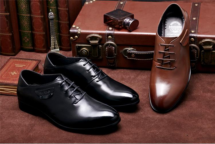 【绅典】英商正装皮鞋真皮尖带鞋