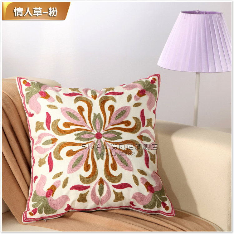 诗凡尼 精品民族风手工刺绣床头靠枕 方枕 汽车抱枕 沙发