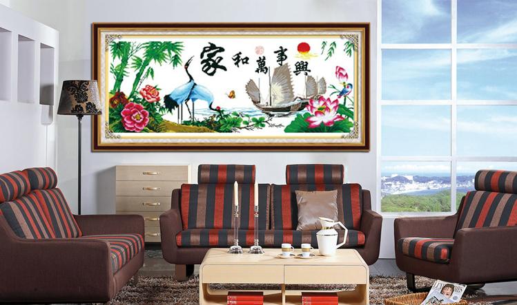 蒙娜丽莎十字绣家和万事兴鹤寿年丰仙鹤精准印花套件装新款客厅大幅画