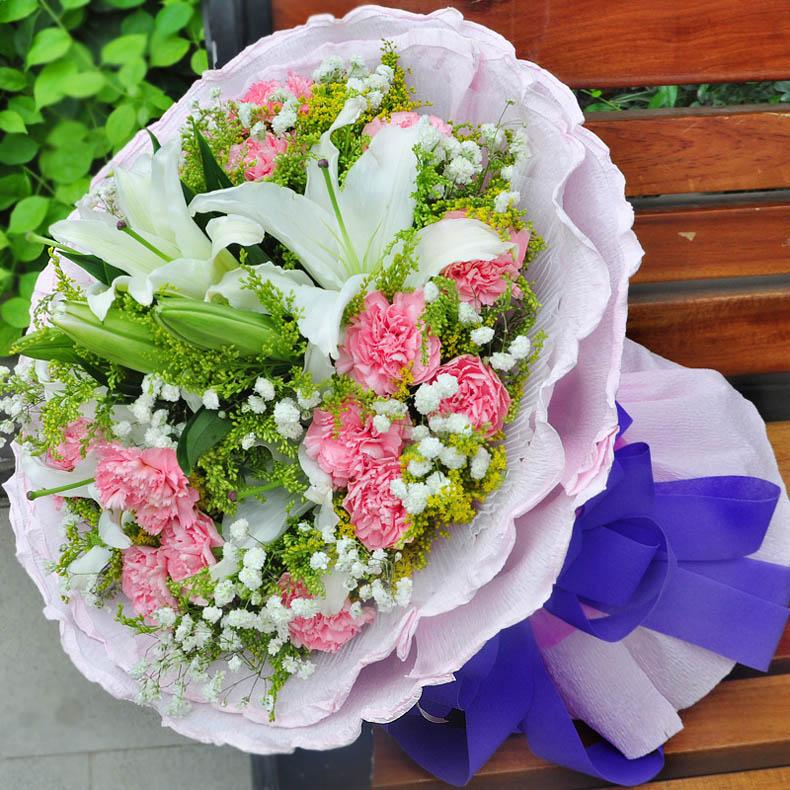速递 康乃馨 百合花 生日礼物 祝福花束 19朵粉康乃馨2枝香水百合五 图片