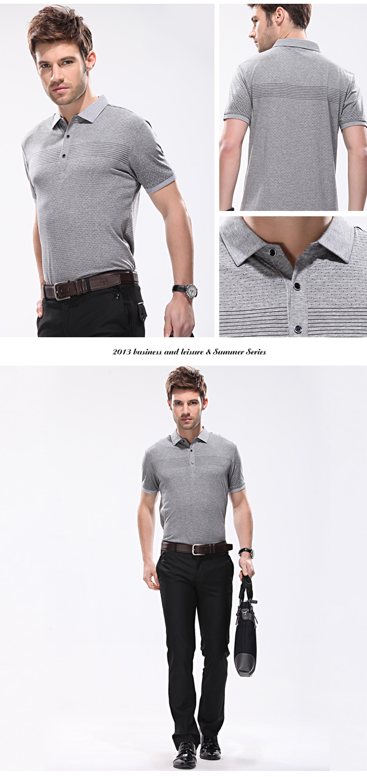 Middle-aged men's business casual summer new lapel printed short-sleeved T-shirt men short sleeve t-shirt polo shirt men polo shirt C2031 Grey 180cm