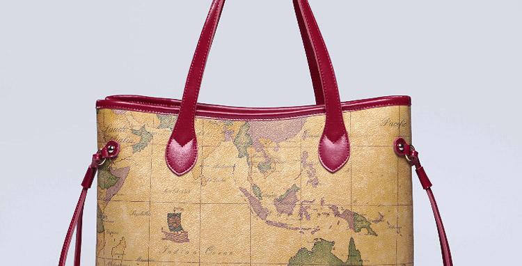 新款女士手提包配牛皮单肩地图包旅行家系列