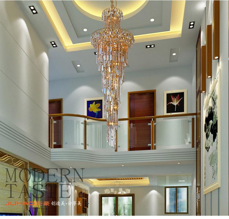 xf钜豪客厅灯现代酒店大堂灯旋转楼梯灯led水晶灯客厅