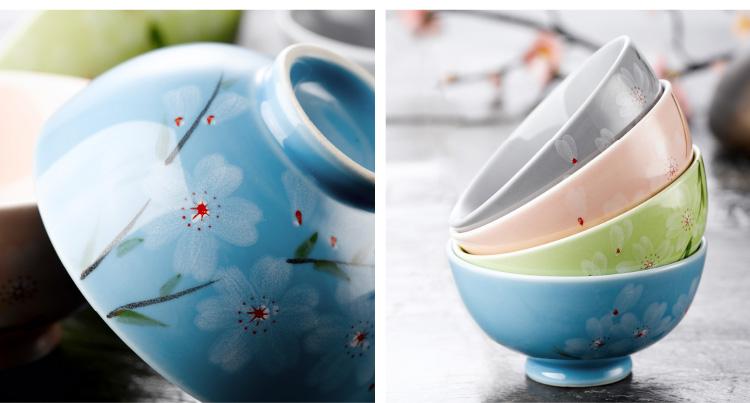 纯美无限餐具套装 日式手绘创意餐饮用具日韩式 圆碗面碗 米饭碗 4头
